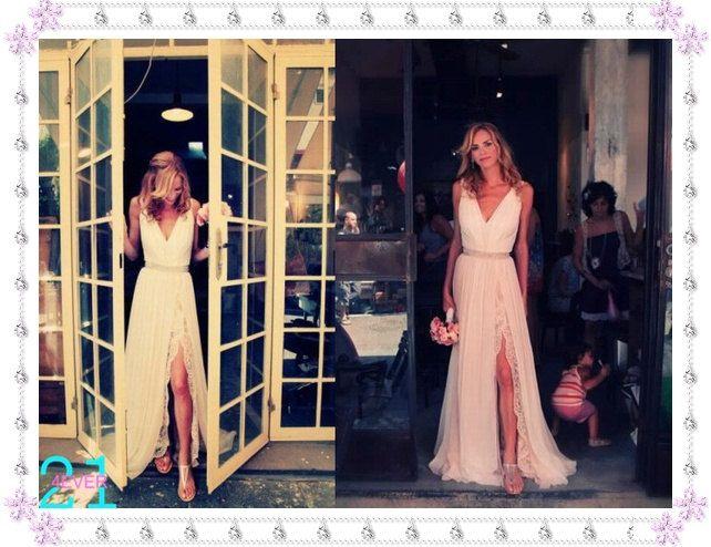 Blush Wedding Dress Chiffon Vintage Wedding Dress Split by 214EVER, $379.99