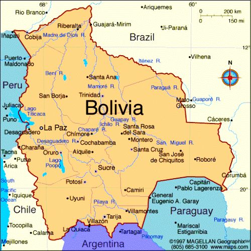 physical map of bolivia and travel information