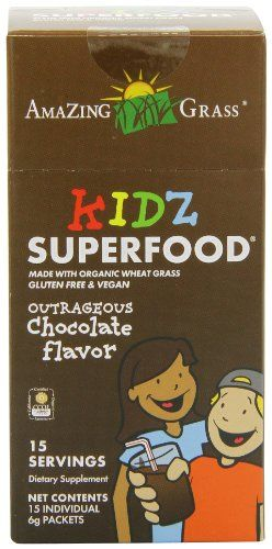 Amazing Grass Kidz Superfood All Natural Chocolate Drink Powder 15 Count Packets