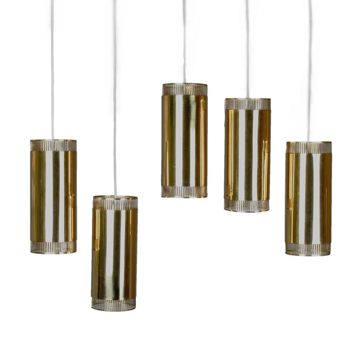Set of five cylindrical pendant lights in brass