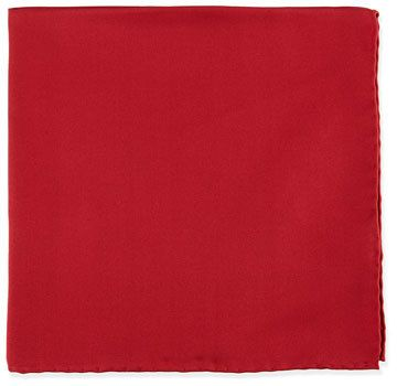 Neiman Marcus Silk Pocket Square, Cranberry