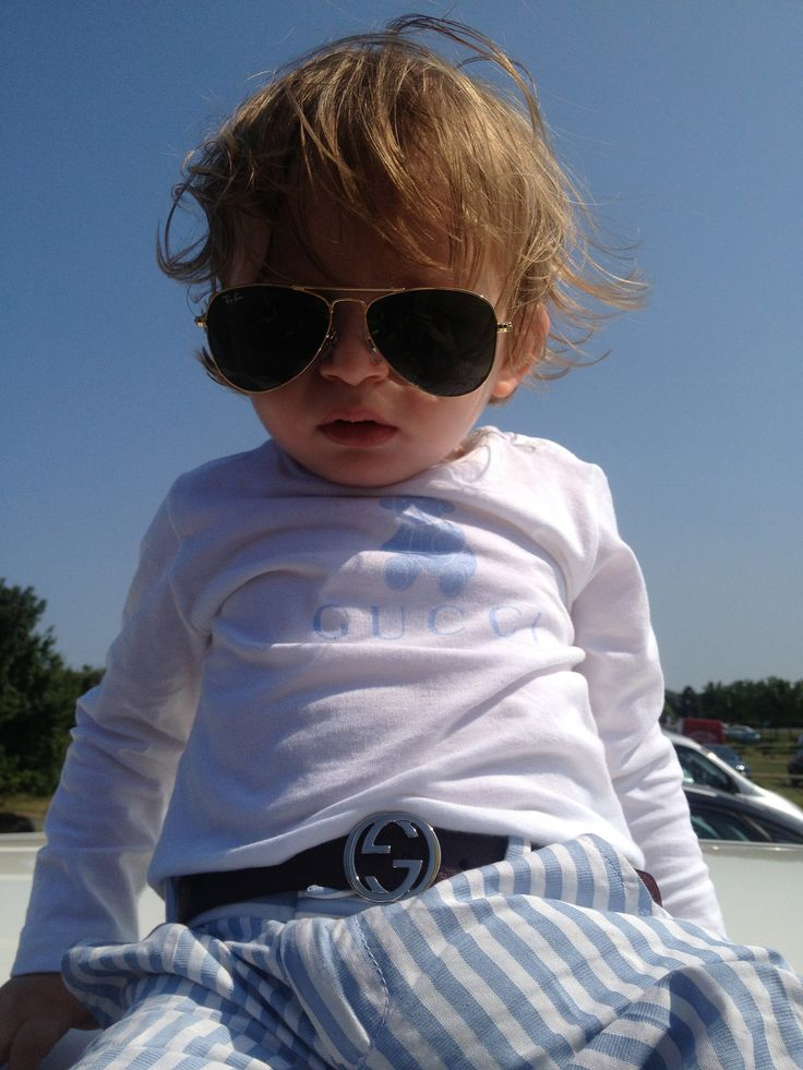 baby sunglasses ray bans  baby gucci t shirt, baby gucci belt, kids ray ban gold sunglasses.