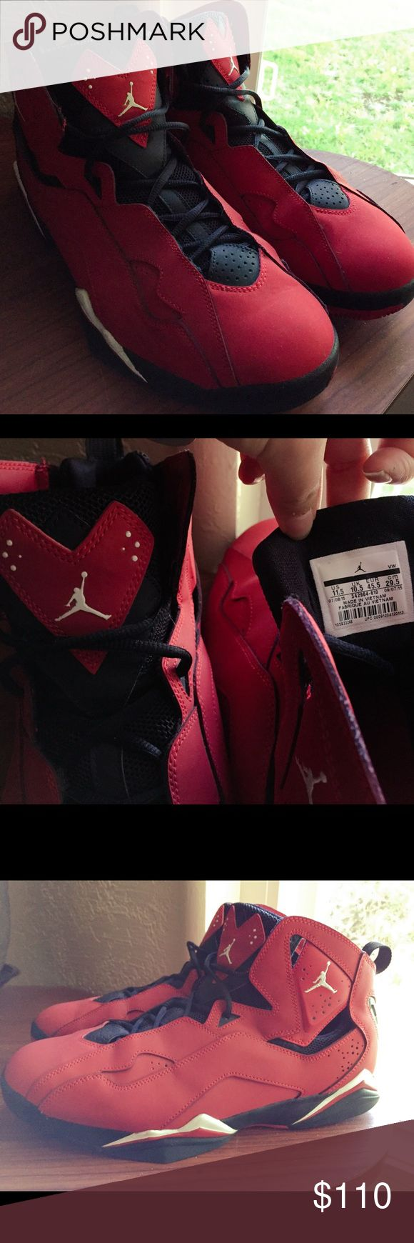 Red/black/white 11.5 Jordan limited edition All red black and white TRUE FLIGHTS JORDANS. Perfect for Valentine's Day with a heart on the tongue. Mint condition. Only worn 1-2 times. Clean bottom, clean inside. No scuffs. Size 11.5 us , 10.5 UK, EUR 45.5, good quality. Original laces, and no smell. Jordan Shoes Sneakers