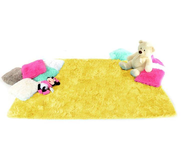 Dywan pluszowy na podłogę w kolorze żółtym