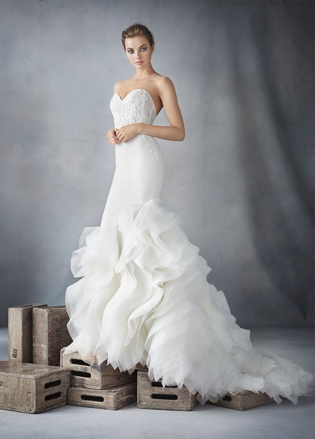LAZARO Style 3610. Ivory crepe trumpet bridal gown with organza textured skirt, strapless sweetheart neckline, shear corseted Chantilly lace bodice, natural waist, crepe skirt finished with layered ruffled organza, chapel train. Bridal Gowns, Wedding Dresses by Lazaro - JLM Couture - Bridal Style