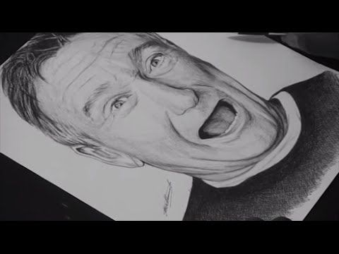 Pen Drawing Of Robin Williams Tribute - Freehand Art
