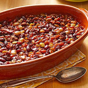 Calico Bean Bake With Lean Ground Beef, Bacon, Chopped Onion, Pork And Beans In Tomato Sauce, Lima Beans, Butter Beans, Kidney Beans, Brown Sugar, Water, Ketchup, Vinegar, Dry Mustard