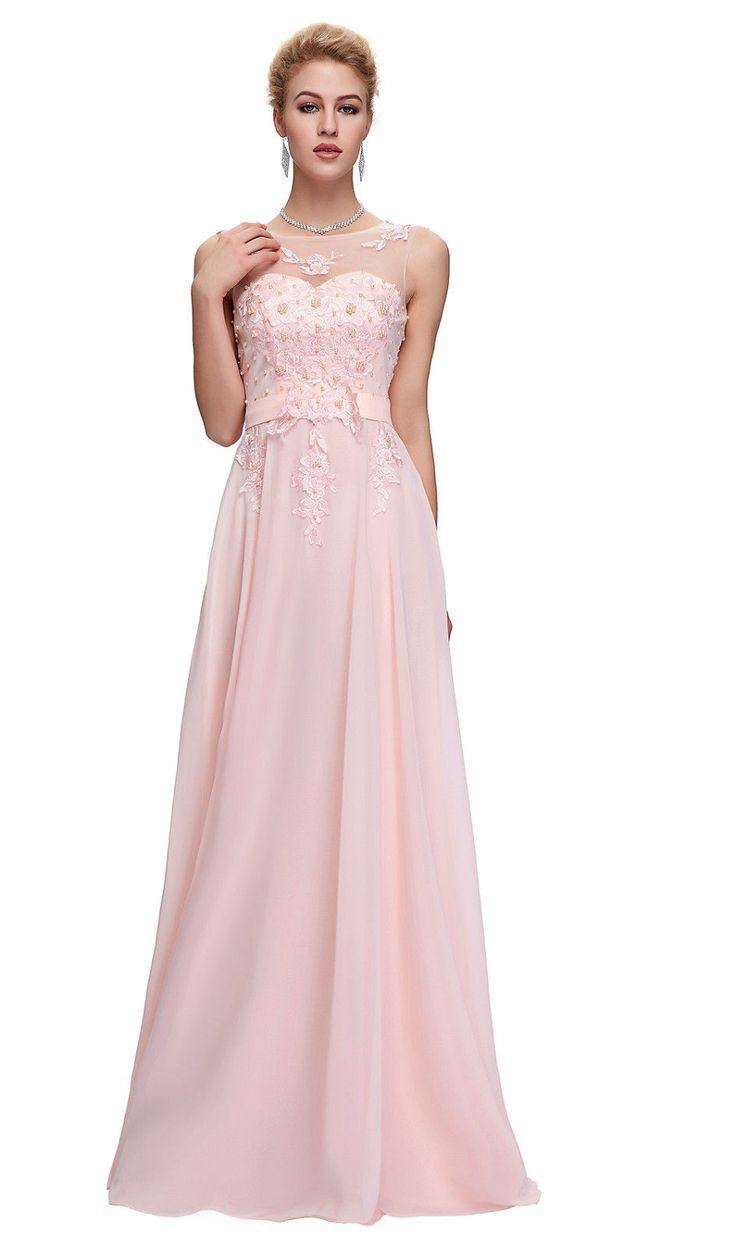 Pink embellished evening dress