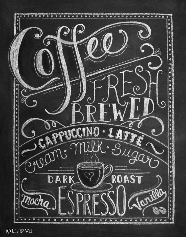 Coffee Art Print Chalkboard Art Kitchen Chalkboard Print Kitchen Art Coffee Lover