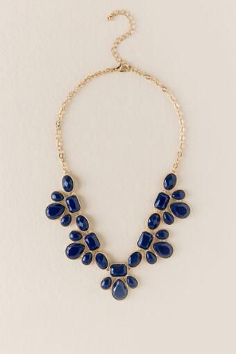 Game Day Teardrop Statement Necklace in Navy