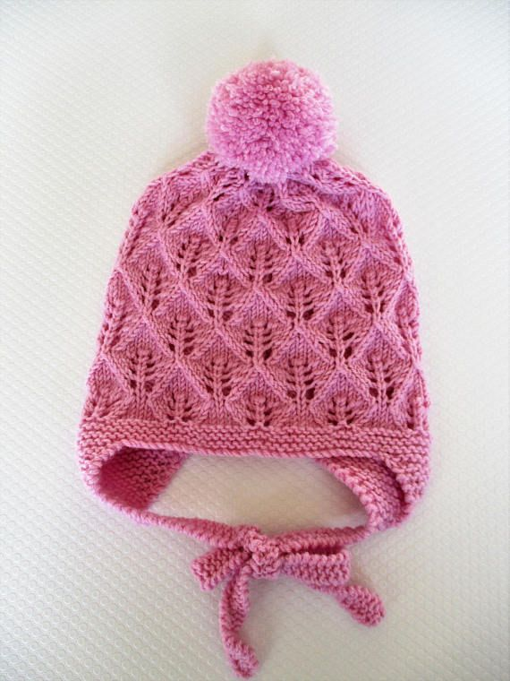 Hand Knitted winter baby girl hat with ear flaps modern baby