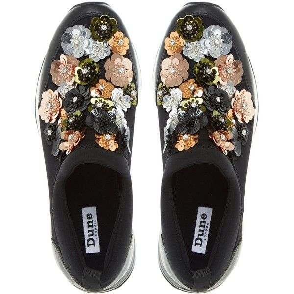 Dune Elecktra Embellished Slip On Trainers, Black (€110) ❤ liked on Polyvore featuring shoes, sneakers, flats, black flats, embellished flats, black shoes, black sneakers and flat shoes