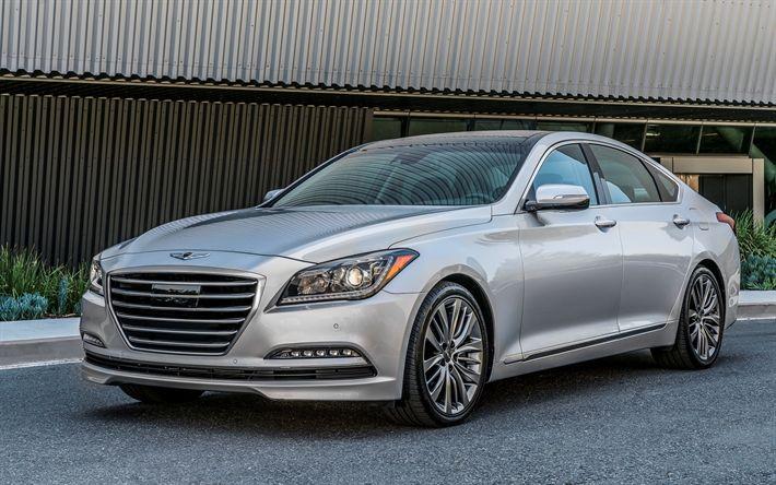 Download wallpapers Hyundai Genesis, 2017, Silver Genesis, luxury sedan, Korean cars, Hyundai