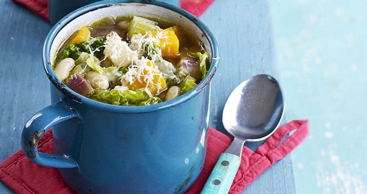 Sexy Chef Gino D'Acampo shares his delicious and vegetarian Chunky Winter Vegetable and Cannellini Bean Soup.  Perfect for a cold winter night! **RockIt Fuel Tip: double the recipe, put in individual freezable containers or bags and use them for quick grab-and-go lunches