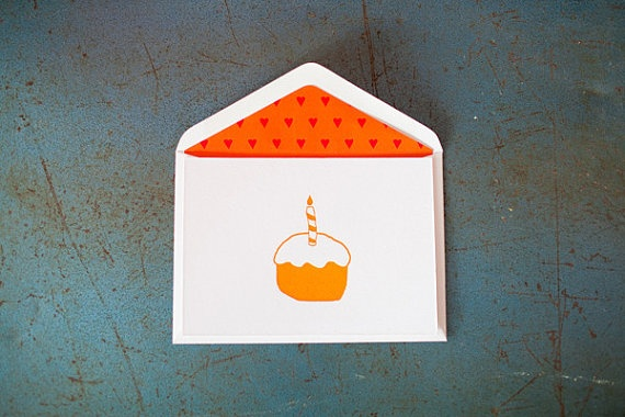Cupcake {Letterpress Greeting Card} by LittlePeachCo on Etsy, $5.00