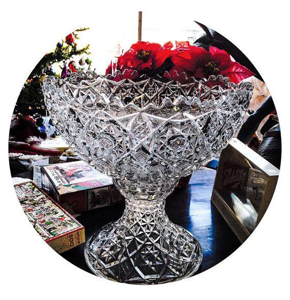 Fostoria Rosby Pattern Glass Punch Bowl
