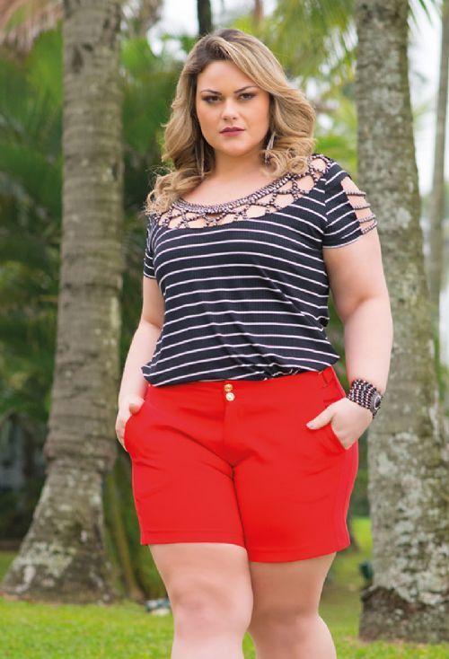 Shorts Alfaiataria Plus Size   Wish Fashion