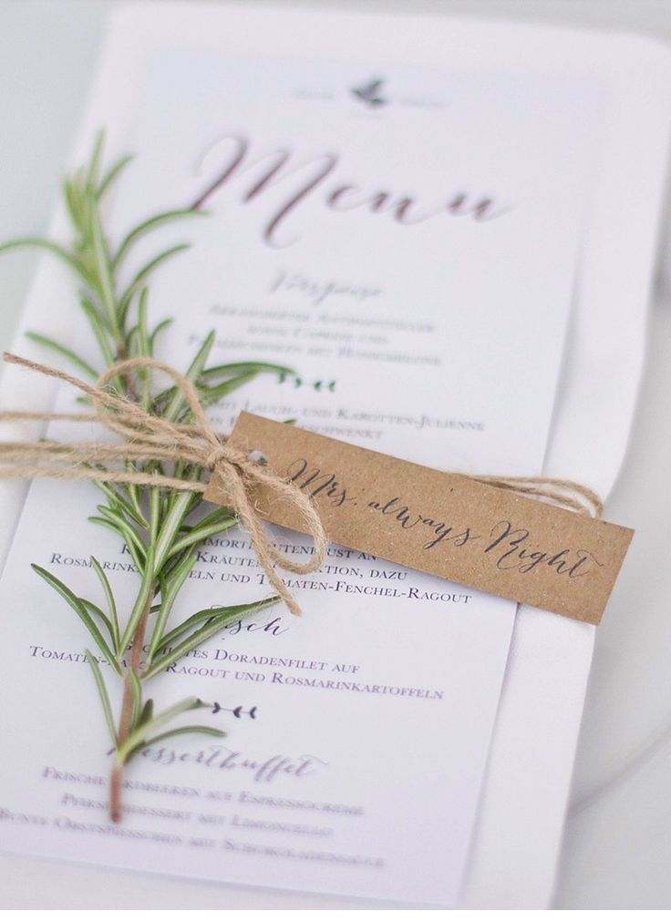 lena felix-rustical wedding menu card mrs always right Blue & Ivory Event Wedding Design