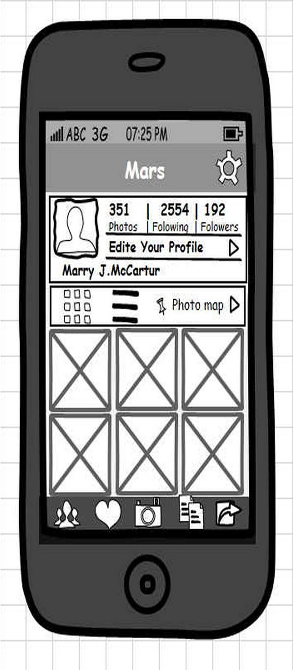 Instagram profile page wireframe. Available for free: http://mockupbuilder.com/Gallery/218