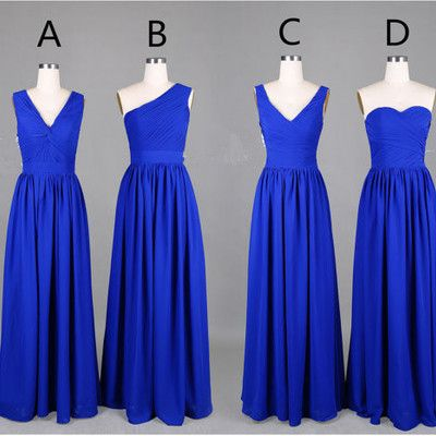 Simple royal blue bridesmaid dresses,chiffon bridesmaid dresses