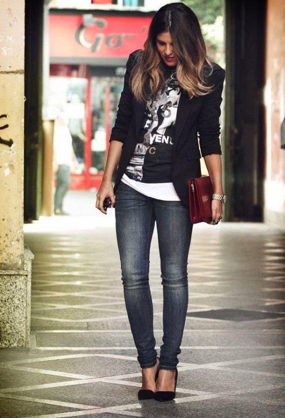 Look Casual com Blazer | Looks Inspiração | Eternamente Diva | Pinterest | Fashion, Blazer outfits and Outfits