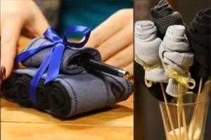 Совсем скоро праздник 23 февраля и каждая женщина уже заранее задумывается, что же подарить своему мужчине? Есть множество различных вариантов — цветы, туалетная вода, наборы для бритья, носки. Можно подарить подарок пооригинальнее, а можно и попроще, но при этом интересно его оформить и преподнести своему мужчине.
