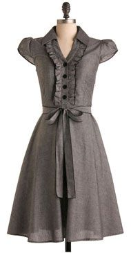 Grey Dress - I worry about the high neck. Also, grey alone is sad, but a colourful scarf or necklace might get lost in the ruffles.