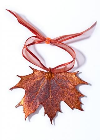 Favor idea? Real Maple Leaf Ornament in Iridescent Copper Lace Style. The have different leaves in different colors!