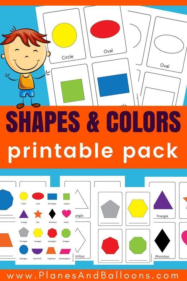 Shapes images with names practice sheets: Name, write & color ...