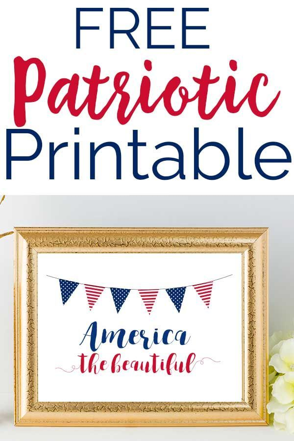 Decorate for summer with this free Patriotic Printable Art. The perfect touch of red, white and blue for your home from the Memorial Day through 4th of July holidays! #patriotic #redwhiteandblue #printable #4thofJuly #MemorialDay