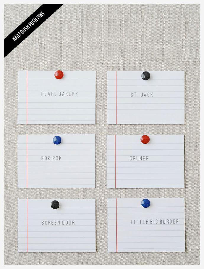 Way cute idea! nail polish push pins!