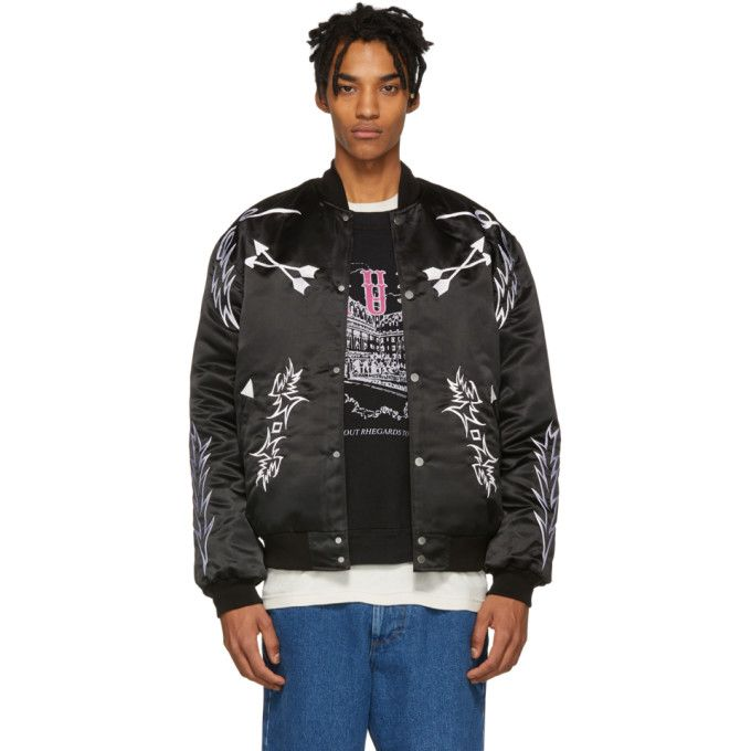 73d2a9f4c RHUDE RHUDE BLACK EMBROIDERED BOMBER JACKET. #rhude #cloth | Rhude ...