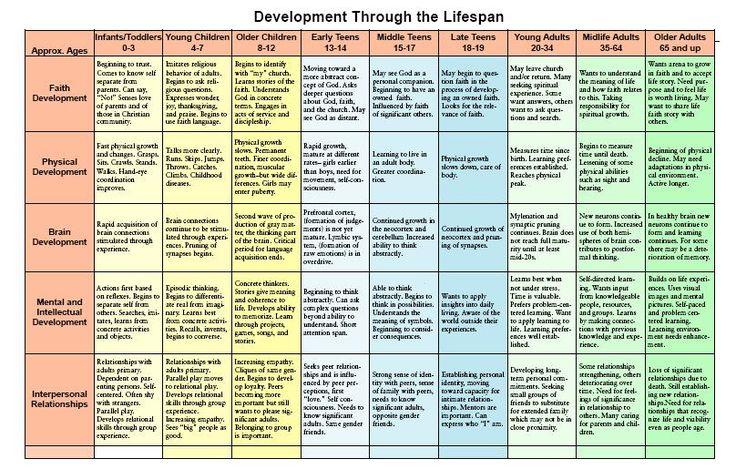 Lifespan Development Chart
