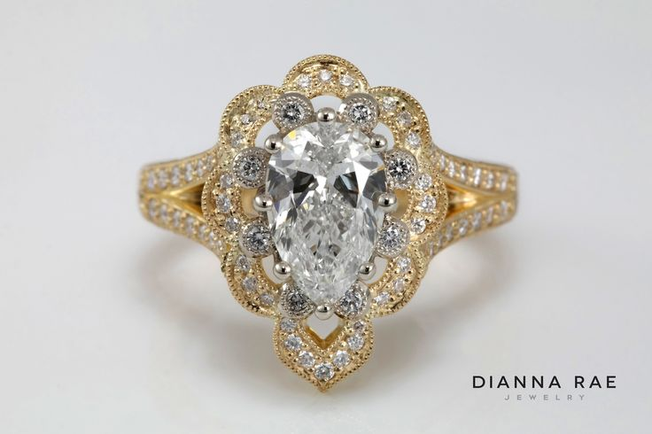 Ornate Scalloped and Engraved Pear Shaped Diamond Engagement Ring