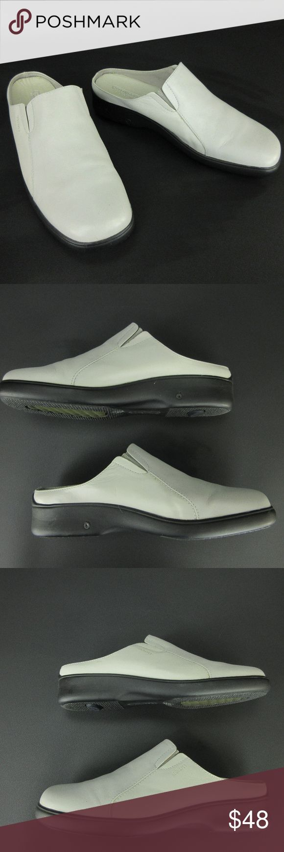 """Stonefly Womens Clogs 38 7 -7.5 Gray Leather Italy Stonefly Womens Clogs 38 7 - 7.5 Gray Leather Slip On Shockair Wedge Shoes Italy      Absolute Comfort     Square Toe     Dual Stretch Inserts     Removable Vented Leather Insole     Shockair Project     Wedge Heel     Rubber Sole  9 1/2"""" / 24.1 cm Length - Toe to Heel inside 3 3/8"""" / 8.6 cm Width at widest part of sole outside 3/4"""" / 1.9 cm Platform 1 5/8"""" / 4.1 cm Heel  Condition a few spots, stretch inserts are stretched Stonefly Shoes…"""