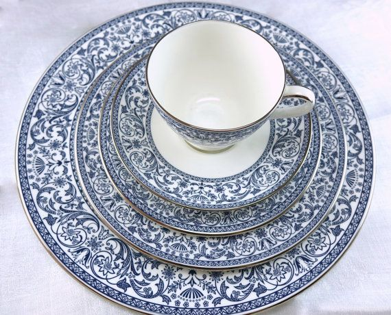 Wedding Minton Infanta English Bone China Set Five Piece Place Setting New Old Stock Blue With Platinum Hard To Find Pattern