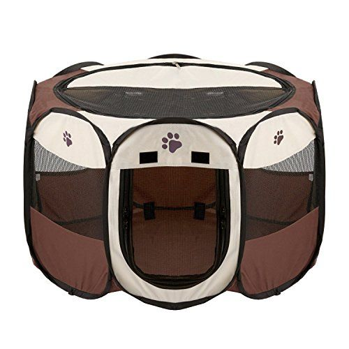 Foldable Dog Cat Playpen Yard Security Kennel Mesh Shade Cover Fence Tent For Indoor Outdoor *** You can find out more details at the link of the image.