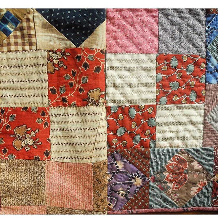 #reproductionfabricmatchup  On the left c. 1850 doll quilt.  On the right a portion of my reproduction made over 20 years ago. Fixer of Old Quilts on Instagram