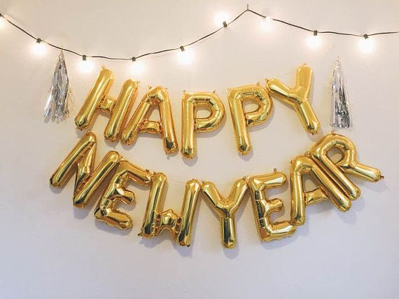 HAPPY NEW YEAR balloon banner kit    New Year Celebration with these statement balloons! Includes everything you need to create a balloon banner