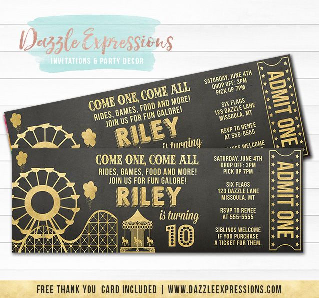Printable Amusement Park Chalkboard and Gold Ticket Birthday Invitation | Theme Park Party | Kid, Teen or Adult Ticket Invite | Carnival | Ferris Wheel | Roller Coaster | Carousel | Favor Tags | Cupcake Topeprs | Banner | Food Labels | Party Package Available