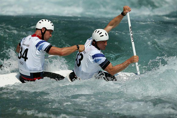 David Florence, front, and Richard Hounslow in action in the mens double canoe (Stephen Pond)