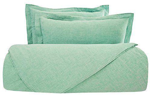 100% Linen Light Green Duvet Cover Queen Bedding Set Pillow Sham Super Soft Gift #PHF #Cottage