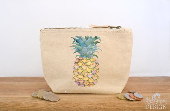 Pineapple Canvas Zip Purse Makeup Bag Coin Purse Small Accessory Pouch by ceridwenDESIGN http://ift.tt/1Wu0dsW