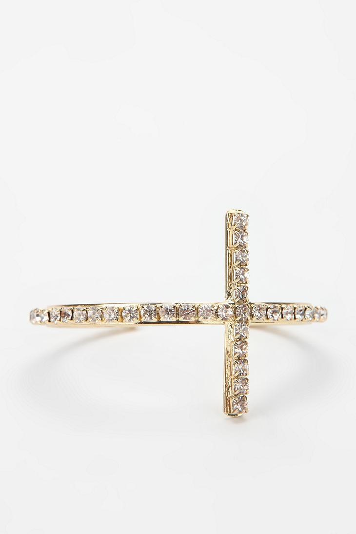 Rhinestone Cross Bangle Bracelet  #UrbanOutfitters