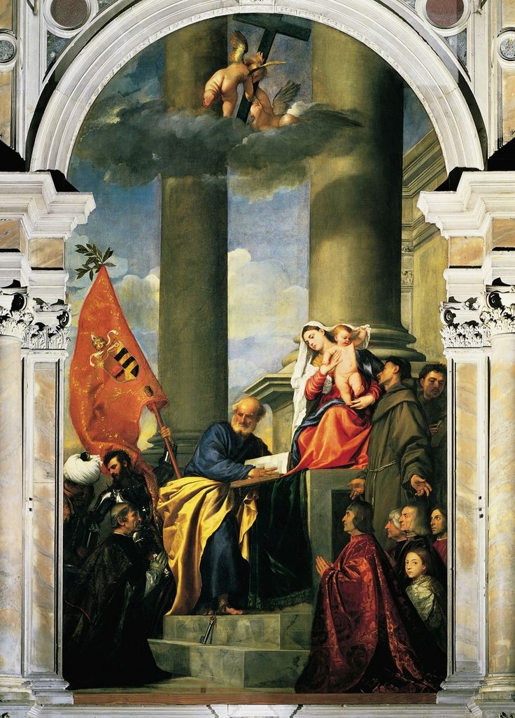 Tiziano, Pesaro Madonna, 1519-1526, altarpiece, oil on canvas, 478 x 266 cm, Venezzia, Santa Maria dei Frari church.