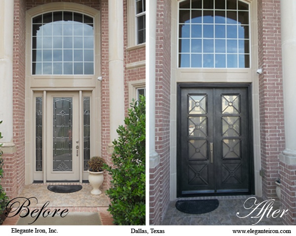 A Plain Front Door Is Switched Out For One With Contemporary Lines That  Contrasts Beautifully With