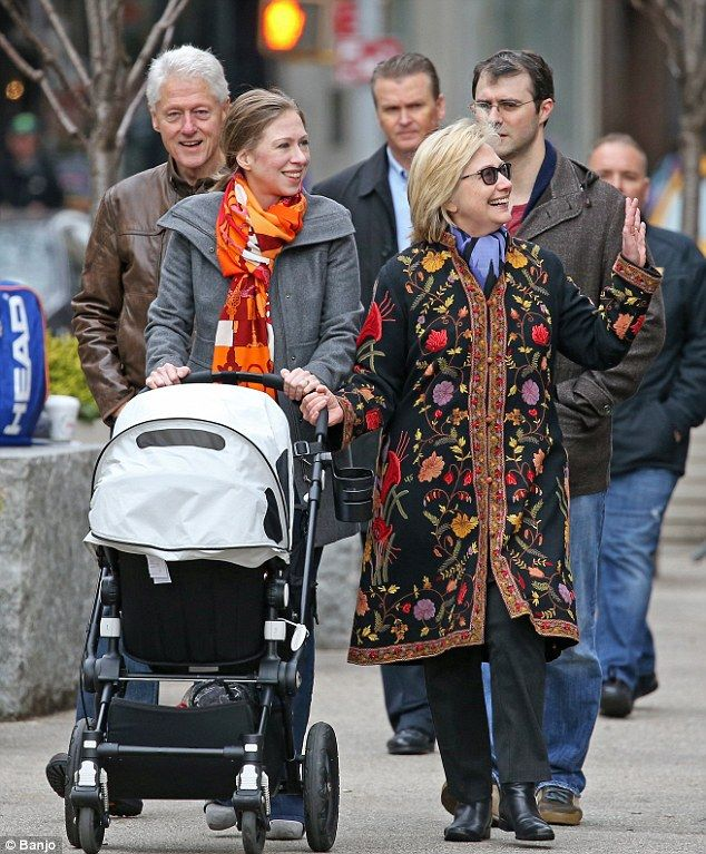 2015 Pregnant Chelsea Clinton (left) has been spotted out on a festive stroll with her husband, daughter and parents Hillary (right) and Bill (back left) as they enjoyed some family time together