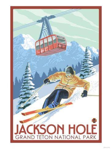 Wyoming Skier and Tram, Jackson Hole/Grand Teton National Park