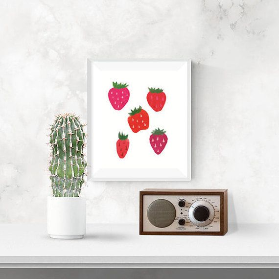 Strawberry Fruit Kitchen Print, Illustration PRINTABLE 8x10 wall art, Digital Berry Nursery Art
