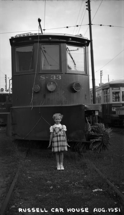 Toronto Transit Commission, #S-33, sweeper, at Russell carhouse, 1951